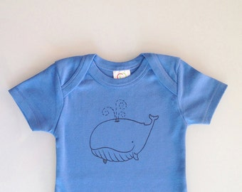 Whale - new baby gift - screen printed baby present - whale baby romper - whale baby print - 6-12m