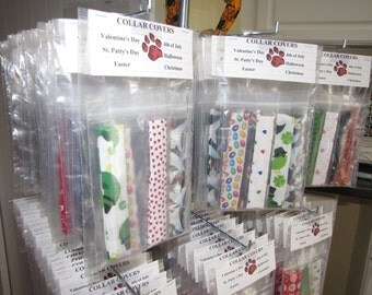 Holiday Dog Collar Covers - 6 Piece Package - Extra Small