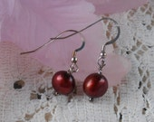 Cherry Domed Pearls - Dangle Earrings VK-E236