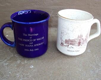 Souvenir British UK Tea Mugs With Princess Diana and a Palace
