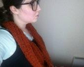 Pumpkin orange wool cowl, unisex winter warm infinity scarf