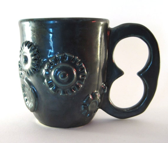 Steampunk mug, hardware, cup, coffee, tea, nuts, bolts, metal, wires, gears. electrical