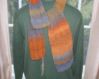 Handspun Hand knit Merino Wool Scarf