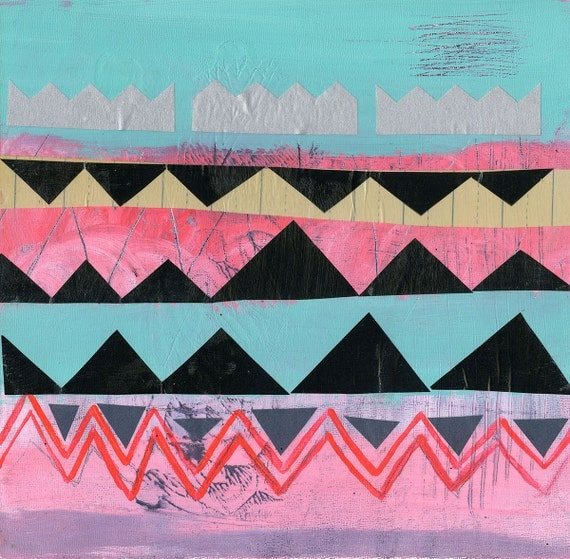 Play -- Pink, Turquoise, Neon, Black, Silver -- Triangles, Zig Zag, Chevron -- New 2013 Original Abstract Modern Painting -- 12x12 in.