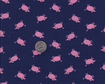 Jack and Lulu E-I-E-I-O Navy Pigs - Dear Stella cotton quilt fabric - one yard or by the yard