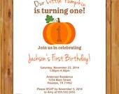 Our Little Pumpkin is Turning One First Birthday Invite Autumn Chevron Printable Invitation 5x7 Digital JPG (365)