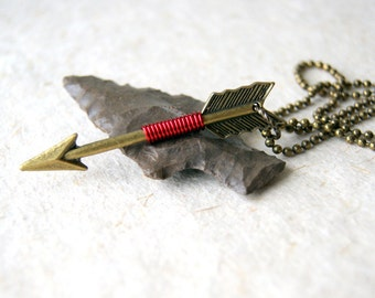 Bronze Arrow Necklace - Red Arrow Necklace - Arrow Necklace - Sagittarius - Zodiac Necklace - wire wrapped arrow necklace - Bohemian Jewelry