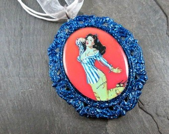 Zombie Necklace - Pinup Girl - Blue and Silver - Glitter Pendant