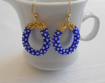 Beaded Earrings - Beaded Rope Hoop Earrings - Chenille Stitch Blue and White - Ready to Ship