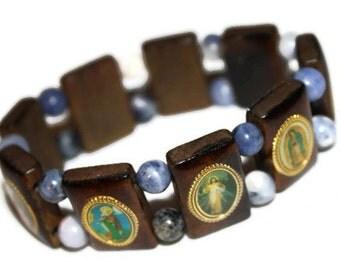 Catholic Saints Wooden Blue Stone Charm Bracelet