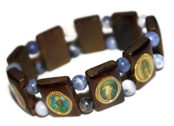 catholic saints bracelet catholic saints wooden blue charm bracelet 8498