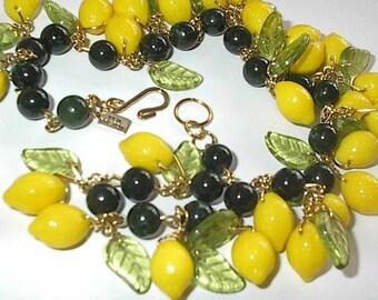Lemons!!  Fun glass fruit necklace as seen in Cosmopolitan!