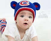 Crocheted CHICAGO CUBS Hat cap beanie baby boy girl pom poms or ears