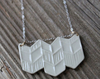 White Porcelain Chevron Necklace - Handmade