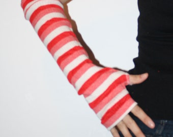 Red pink and white striped Arm Warmers