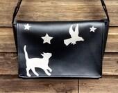 Cat, Stars and Crow Black Vinyl Messenger Bag