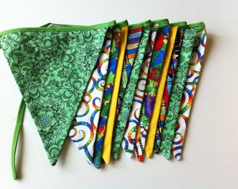 Bright Jungle Colorful Bunting Banner Fabric Flags great for little boys birthday party