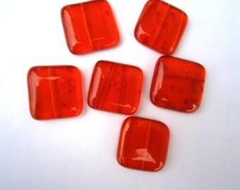 Fused Glass Cabochons 6 in Orange Transparent Frit, Willow Glass Cabochons, SALE Glass Cabs