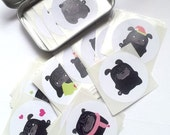 100 Random Black Pug Stickers STKX006 - T-Tea Black Pug Puppy Stickers 2 inch round Mix
