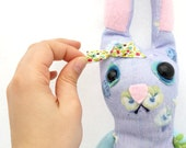 Bunny Rag Doll SALE item - Handmade Stuffed Animals - Plush Rabbit Sock Toy - Upcycled Recycled Repurposed