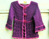 Roseline cardigan - Crochet pattern pdf - for little girls age 4 to 10 with bonus baby and toddler sizes