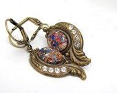 Art Nouveau Earrings, Foil Glass Crystal Rhinestone, Bohemian Boho Jewelry, Steampunk Earrings, Art Deco Earrings, Bridal Wedding Bridesmaid