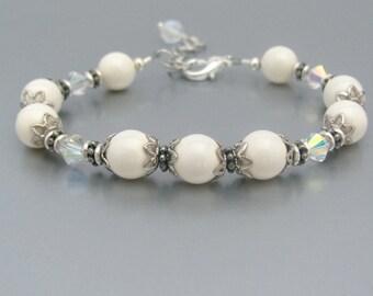 Pearl Bracelet, White Bride Bracelet, Bridesmaid Bracelet, Ivory White, Pearl Wedding Set, Ivory White Swarovski Crystal Pearls