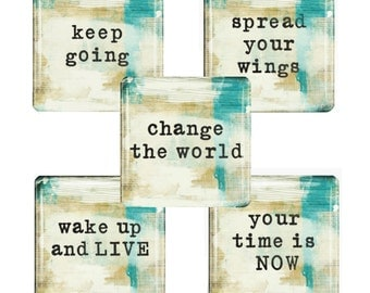 Words of Inspiration Magnet Set -   Glass Tile Magnet Set