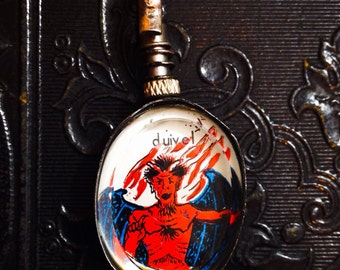 "DEVIL REVERSIBLE LOCKET Original Vintage Ephemera 18"" Chain Dutch Duivel Specimen C"