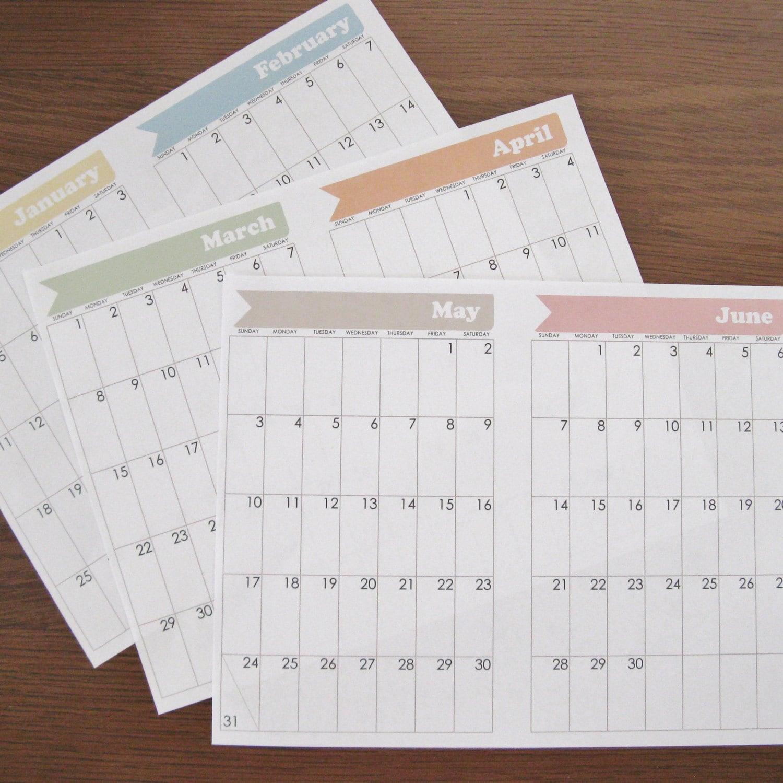 Bullet Journal Printables Calendar : Bullet journal calendar pages january through december