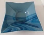Fused Glass Bowl,  Home Decor, Blue Shades, Smokeylady54