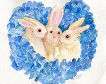 Bunnies, Blue Hydrangeas watercolors paintings original art, rabbits watercolor painting , 8 x 10, whimsical animal, flowers wall watercolor