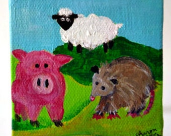 Pig, Sheep and Possum painting on canvas, mini canvas, easel, acrylic painting canvas art, small animal art on canvas,  Farmhouse Decor