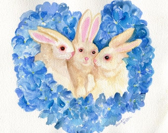 Bunnies, Hydrangeas watercolor painting original art, rabbit painting 8 x 10 bunnies in blue flowers wreath, wall art, watercolor