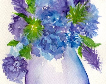 Hydrangeas watercolors paintings original painting, small hydrangea art, hydrangeas watercolors, painting, purple flowers in Vase, floral