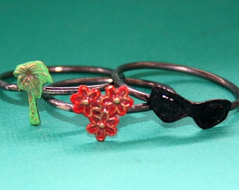 Tropical Vacation Stacking Rings (stack of 3) - Palm Tree Sunglasses Flowers - Green Red Black
