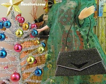 Gene and Pals Black Glitter Repro  Revamp  Purse by RETROS