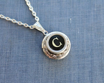 Facebook Special Any INITIAL Vintage TYPEWRITER Key LOCKET Style Necklace Black or White Key Retro Fun