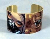 Gas Mask Fairies metal cuff bracelet from Jasmine Becket-Griffith Art FoF scavengers cyberpunk nuclear