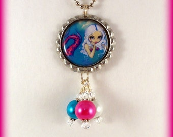 """Jasmine Becket-Griffith  """" Pink Spotted Mermaid """"  necklace"""