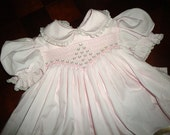 Hand Smocked baby dress size 2 beautiful condition, pink