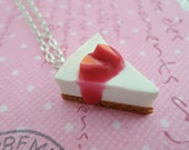 Miniature Food Jewelry, Strawberry Cheesecake Necklace Polymer Clay Food Necklace