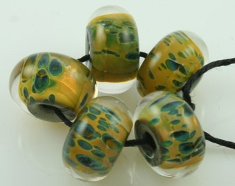 Handmade Lampwork Boro Beads Set of 5 Boro Borosilicate Glass StoneyMarie