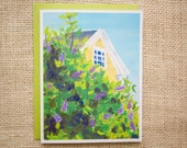 Thinking of you card, spring card, new england, lilacs, farmhouse, historic house