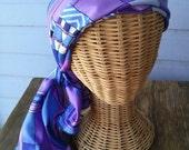 Vintage 1970s Scarf Sash Headband Ascot Purple Geometric 2014386