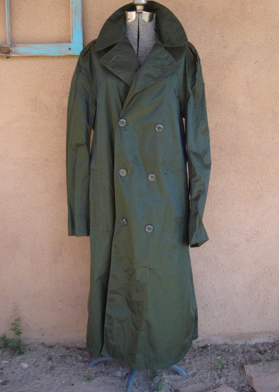 Vintage 1960s Raincoat Military Trench Coat Mens 40 2013628