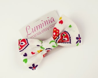 Vintage heart print bow hair clip bow tie brooch hair slide barrette crocodile clip luminia 006