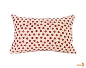 Red Polka Dot Pattern Rectangle Pillow