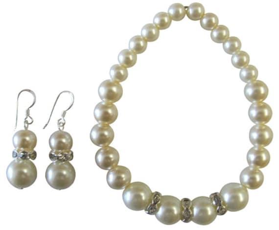 Wedding Bracelet, Bridesmaid Bracelet,Ivory pearl Bracelet,Crystal bracelet,Rhinestones Bracelet Sterlign Silver Earrings Free Shippin USA