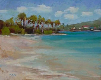 Original Pastel Painting Tropical BEACH CaribbeanLandscape  by Karen Margulis psa 8x10